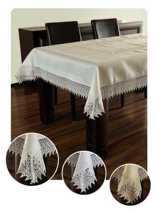 Obrus gipiura haft biały prostokąt 140/150-400